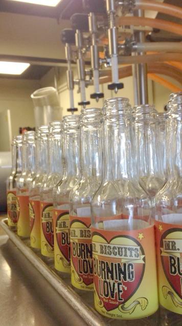 Making the sauce. Empty bottles