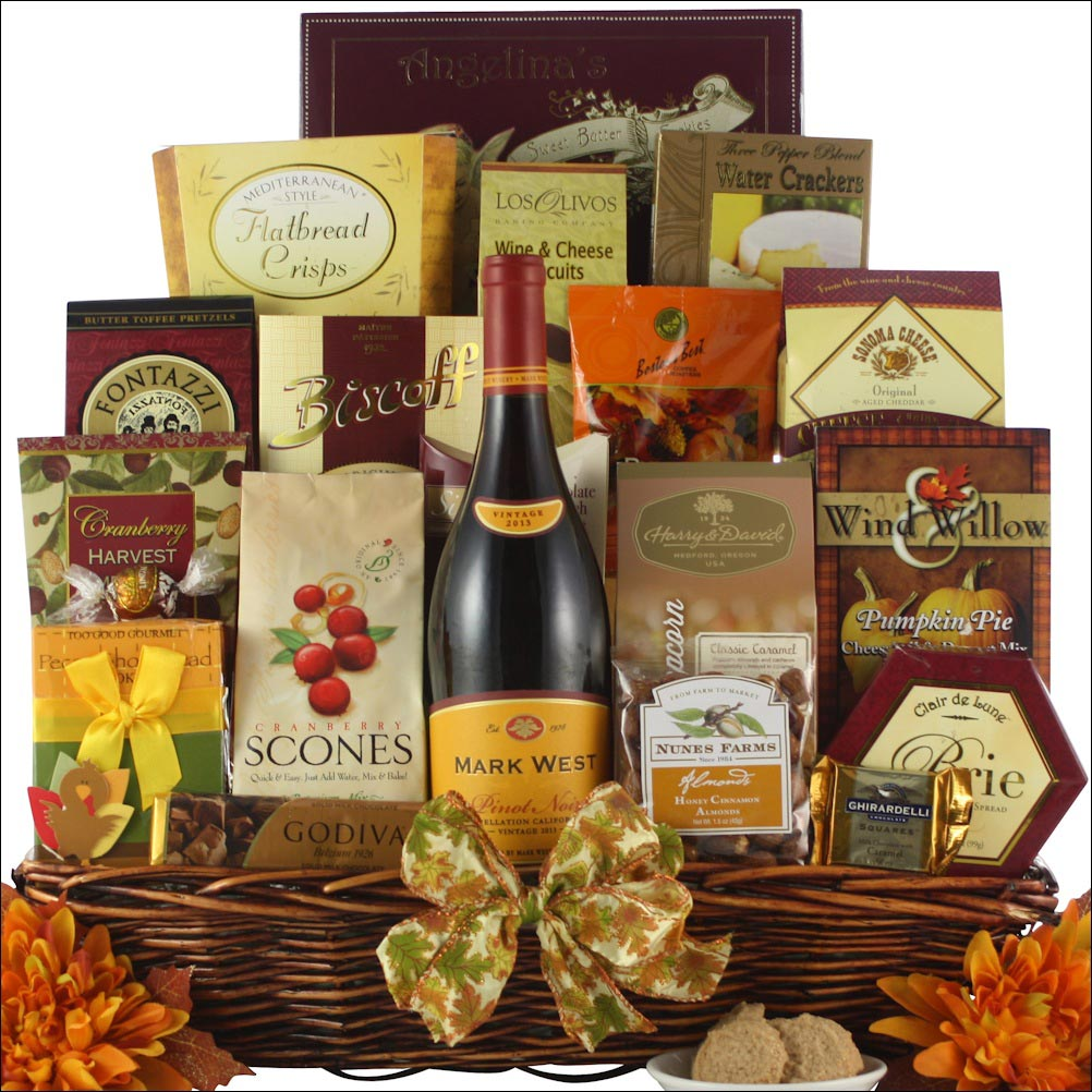 The Thanksgiving traditional wine gift basket