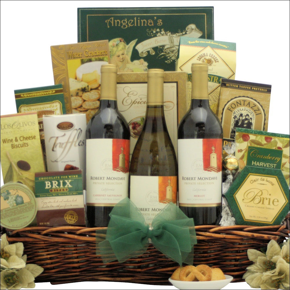 festive wine trio holiday gift basket beautiful package