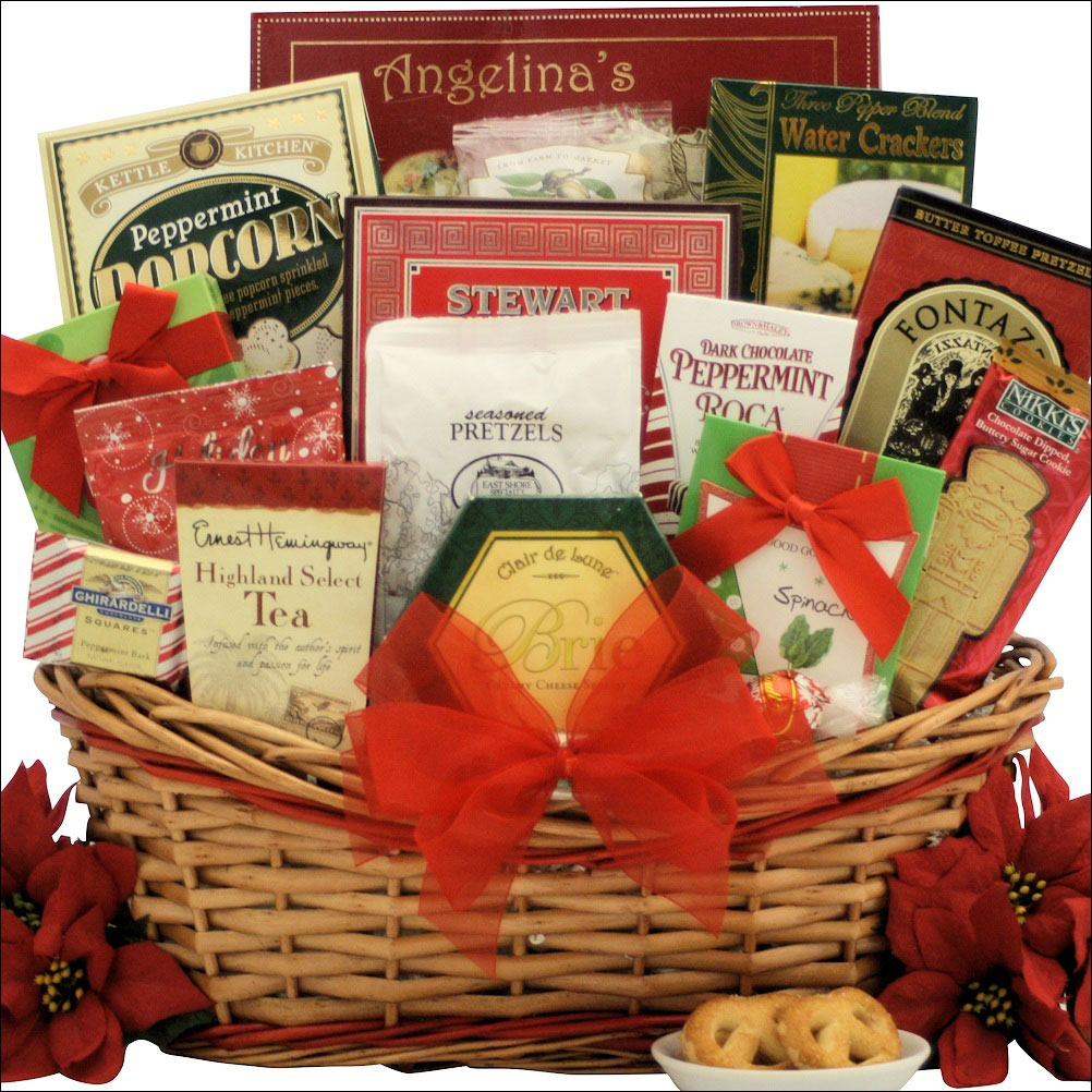 A beautiful and large Christmas gift basket